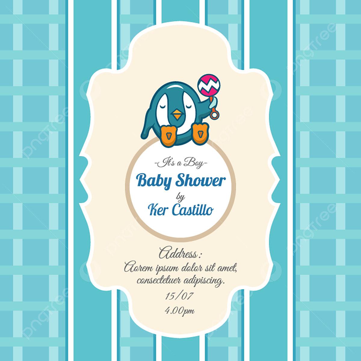 Tarjeta Azul Para Baby Shower Con Un Lindo Pingüino Tarjeta