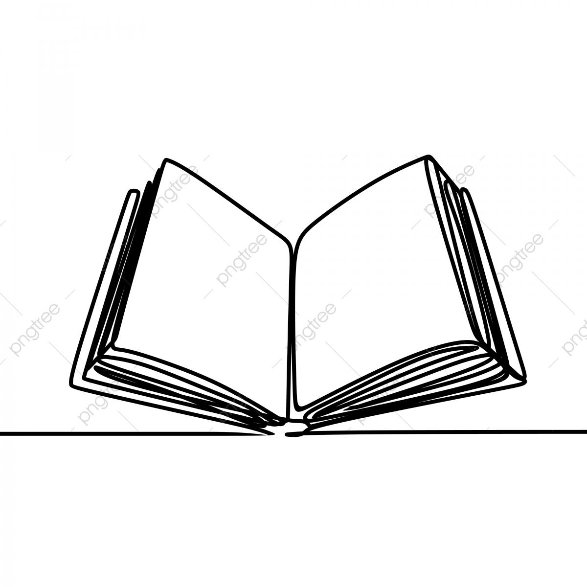 Livre Ouvert Une Ligne Art Dessin Unique Illustration