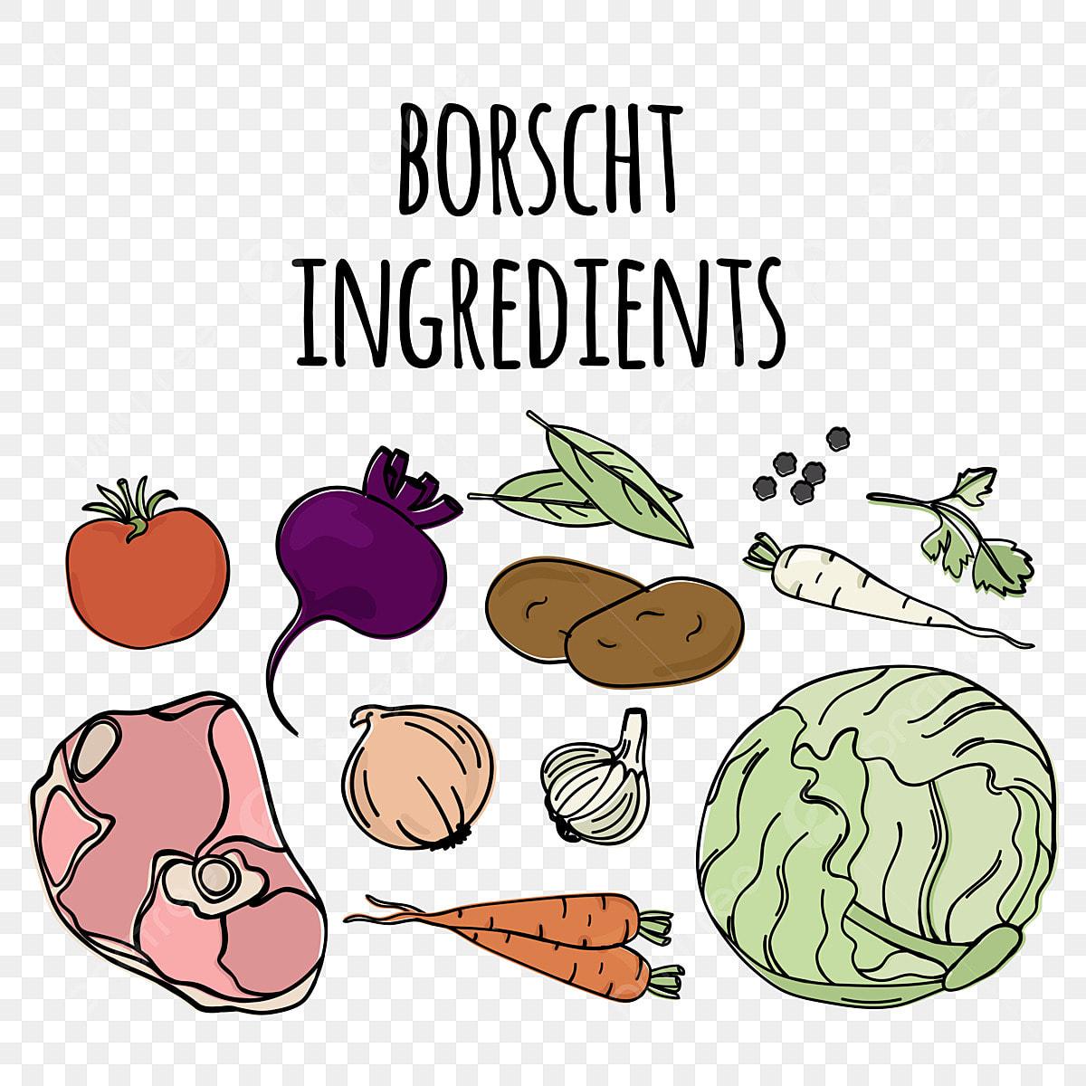 Ingredientes De La Cocina Rusa Tradicional Sopa Borscht Nacional