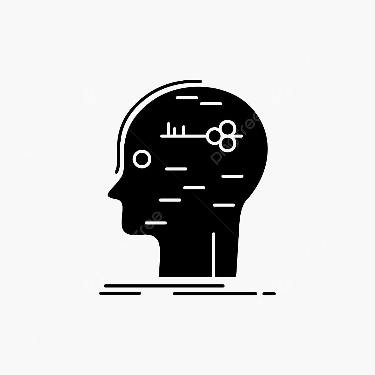 Brain Hack Hacking Key Mind Glyph Icon Vector Isolated Illu