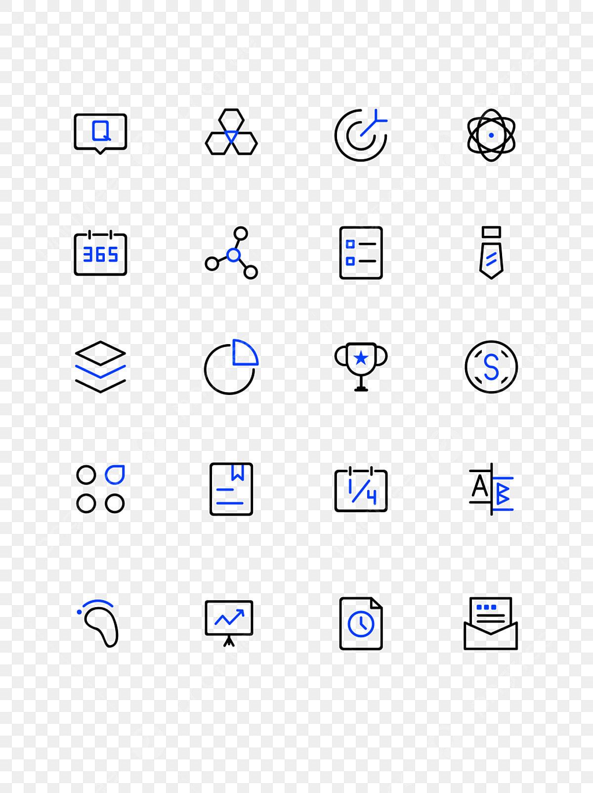 business office blue black minimalist style linear icon element  business office  blue black