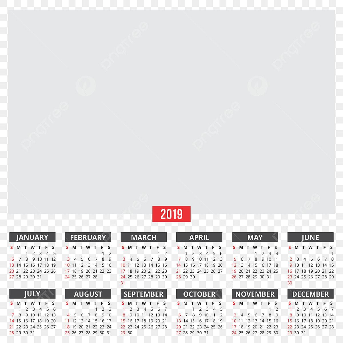 Calendario Free.Calendar 2019 2019 Calendar Png And Vector With