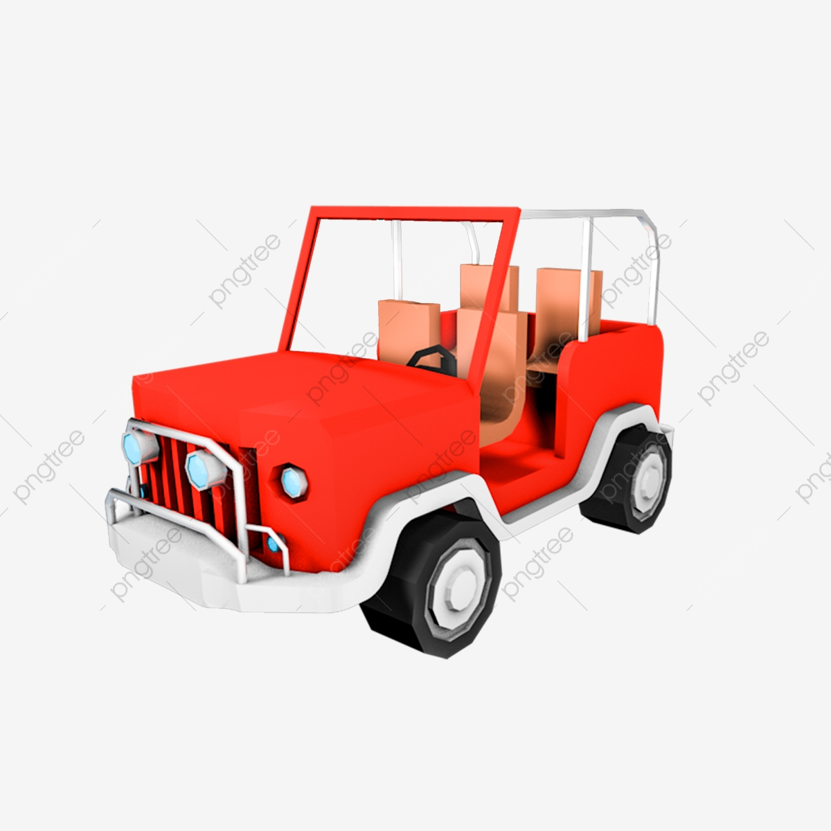 Car Cartoon Red Stereo 3d Jeep Car Cartoon Red Stereoscopic 3d