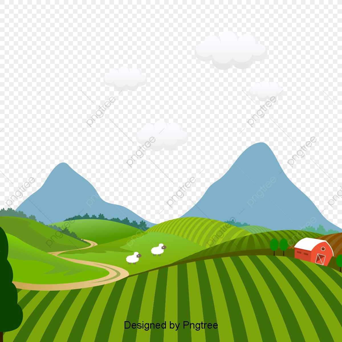 Cartoon Beautiful Hand Painted Countryside Aesthetic