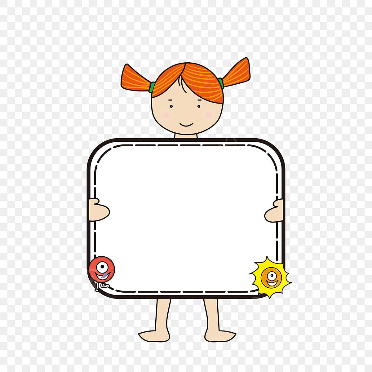 Huruf Kartun Dengan Gadis Kecil Memegang Sketsa Kartun