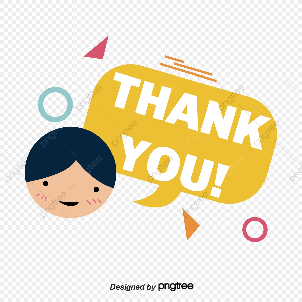 Cartoon Boy Smiling Face Thank You Font Design Ppt Mapping Thank