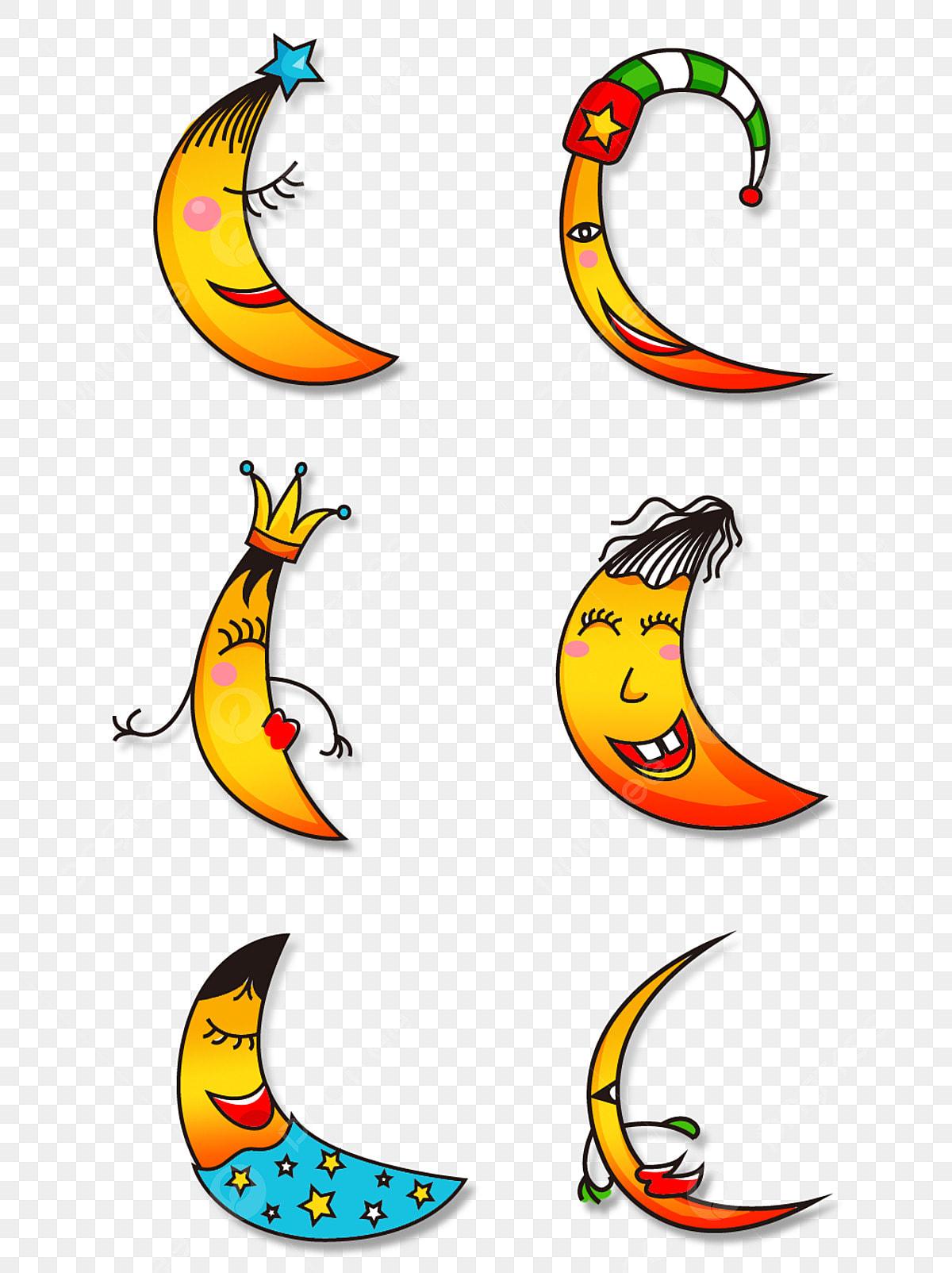 Cartoon Cute Expression Sun Moon Element, Cute Cartoon ...
