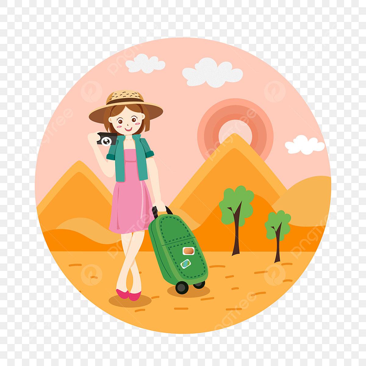 Cartoon Cute Girl Vacation Tourist Character Outdoor Beach ...
