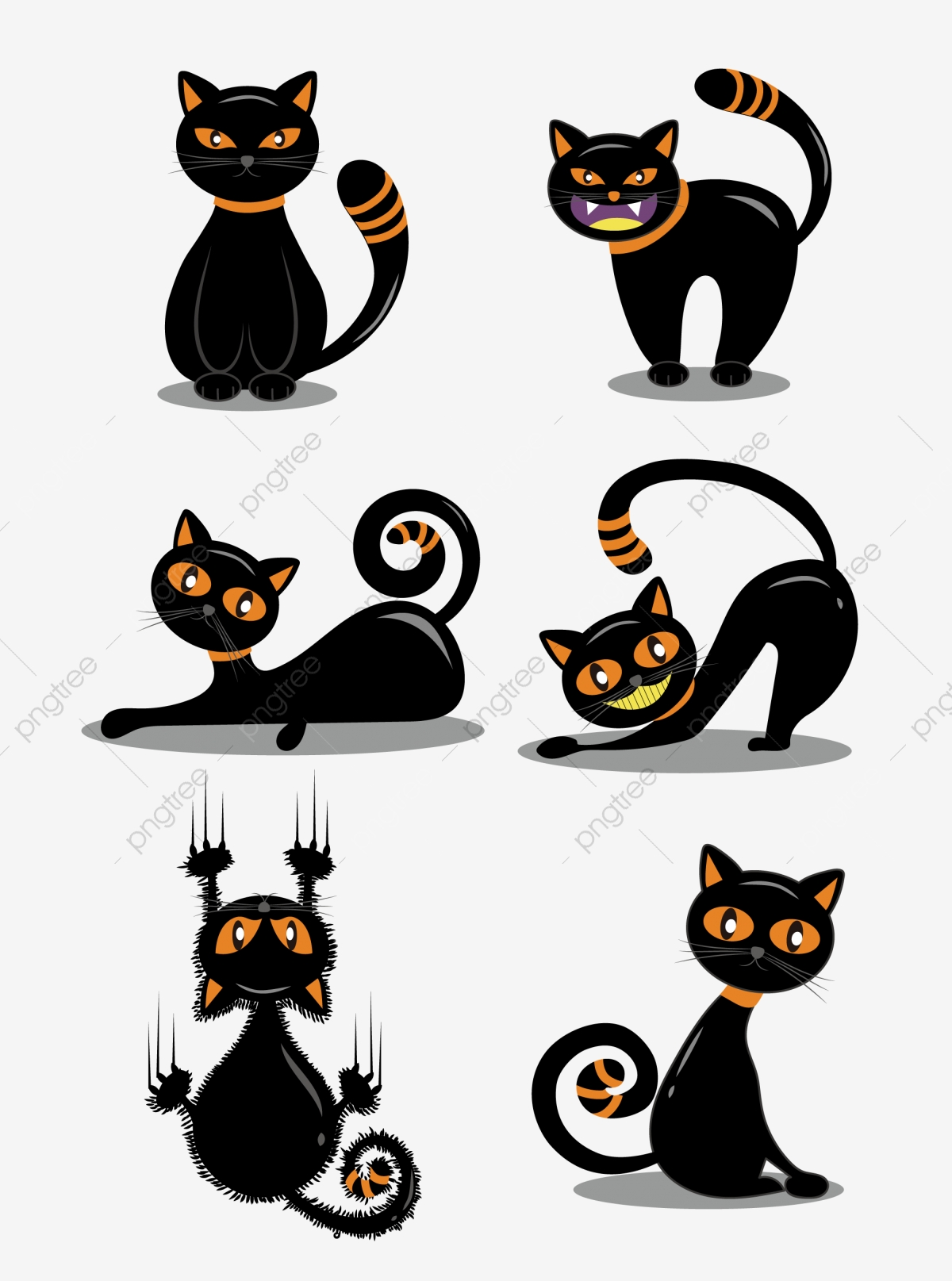Cartoon Cute Halloween Funny Black Cat Illustration Element Cartoon Lovely Halloween Png And Vector With Transparent Background For Free Download