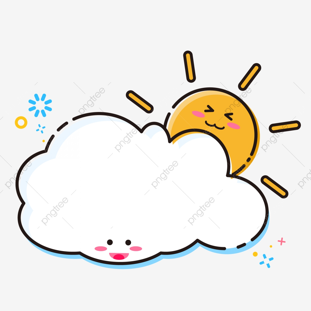 Cartoon Cute Mbe Style Clouds With Sun Border Elements ...