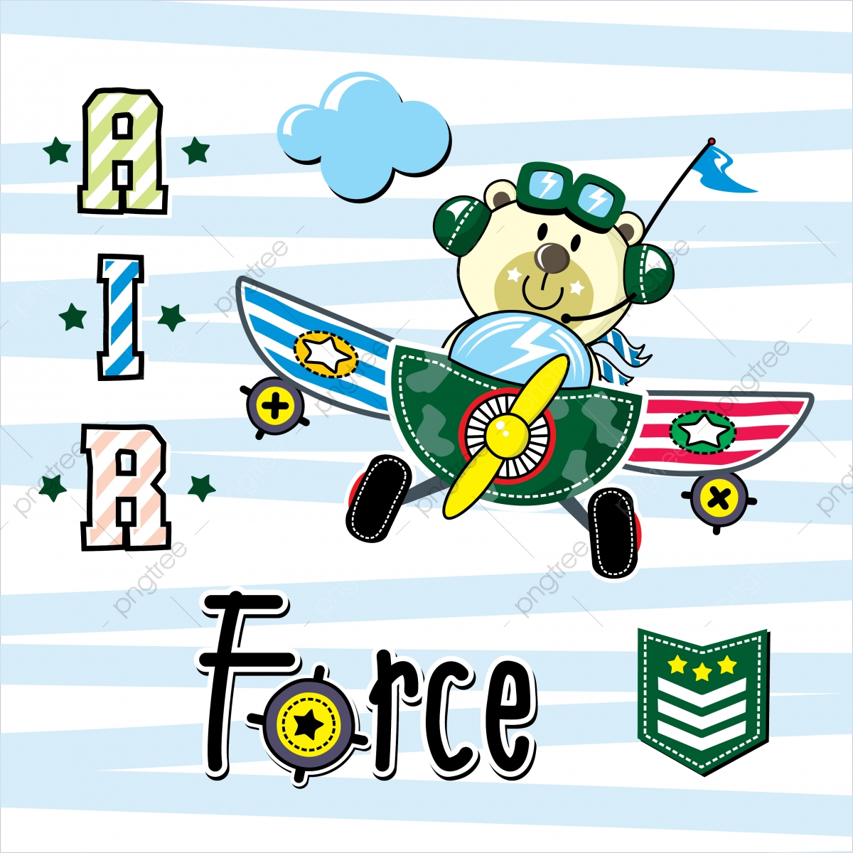 Cartoon Cute Pilot Little Bear Flying With Airplane On