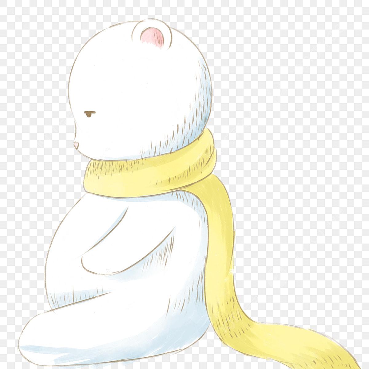 Dessin Anime Mignon Ours Polaire Assis Sur Le Sol Elements