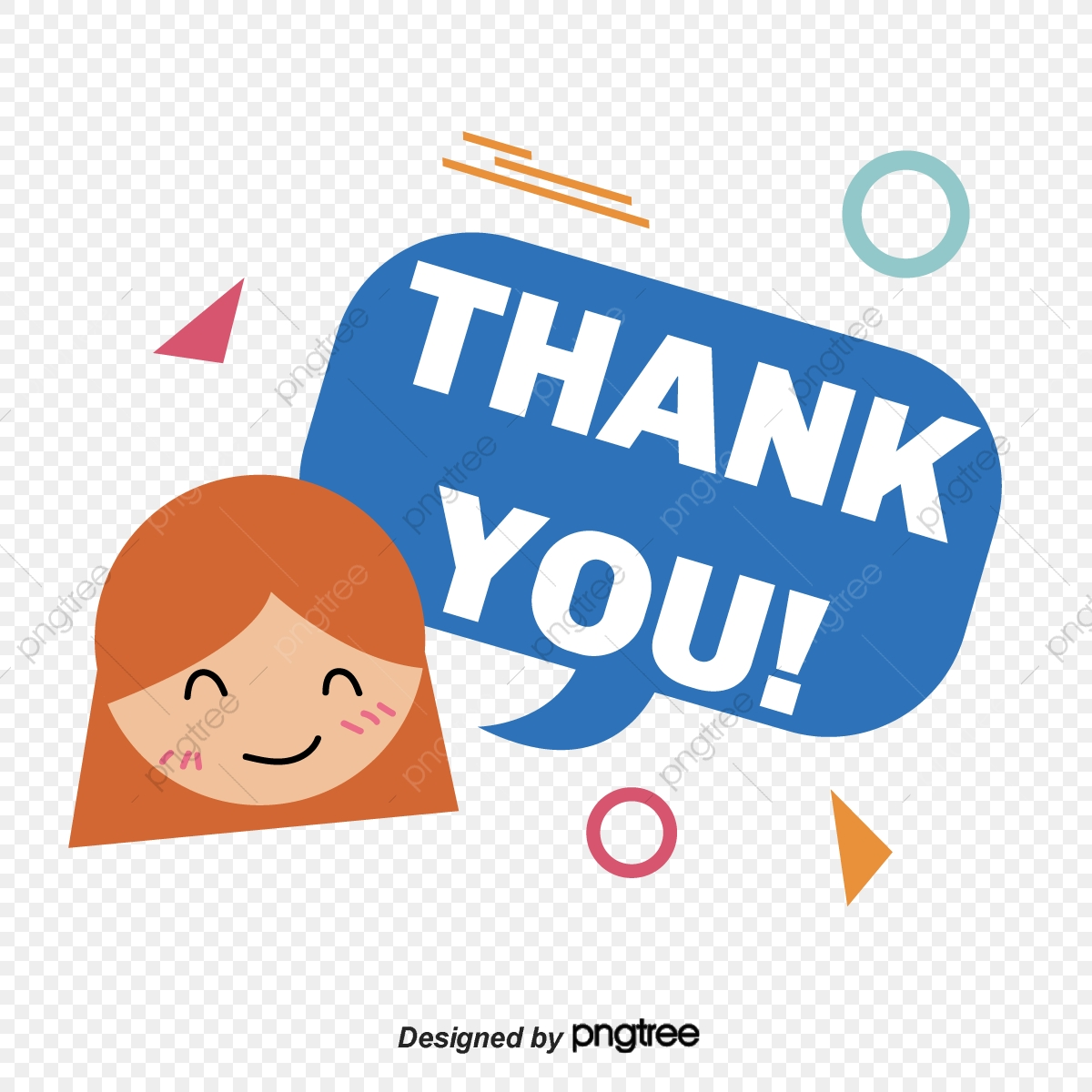 Cartoon Girls Smile Face Thank You Font Design Ppt Mapping Thank