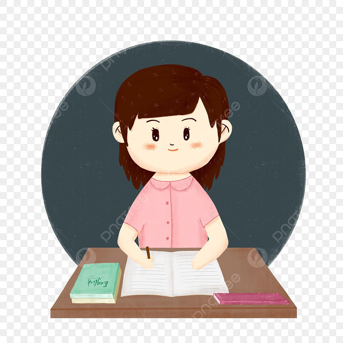 Desenhos Animados Mao Desenhada Estudante Personagem Livro De Mesa