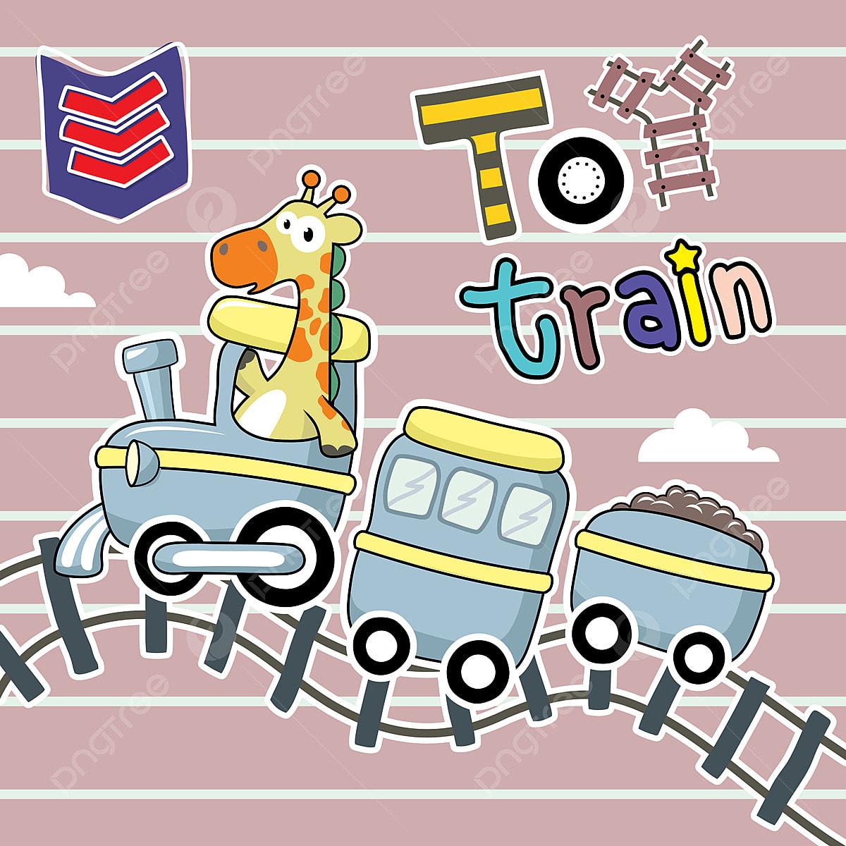 Kartun El Zirafah Naik Kereta Api Mainan Terpencil Di