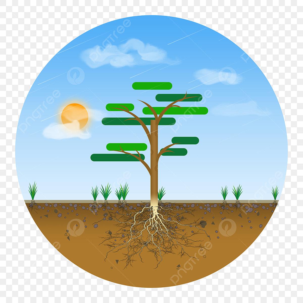 Kartun Tumbuhan Elemen Pokok Lapisan Keratan Awal Pagi