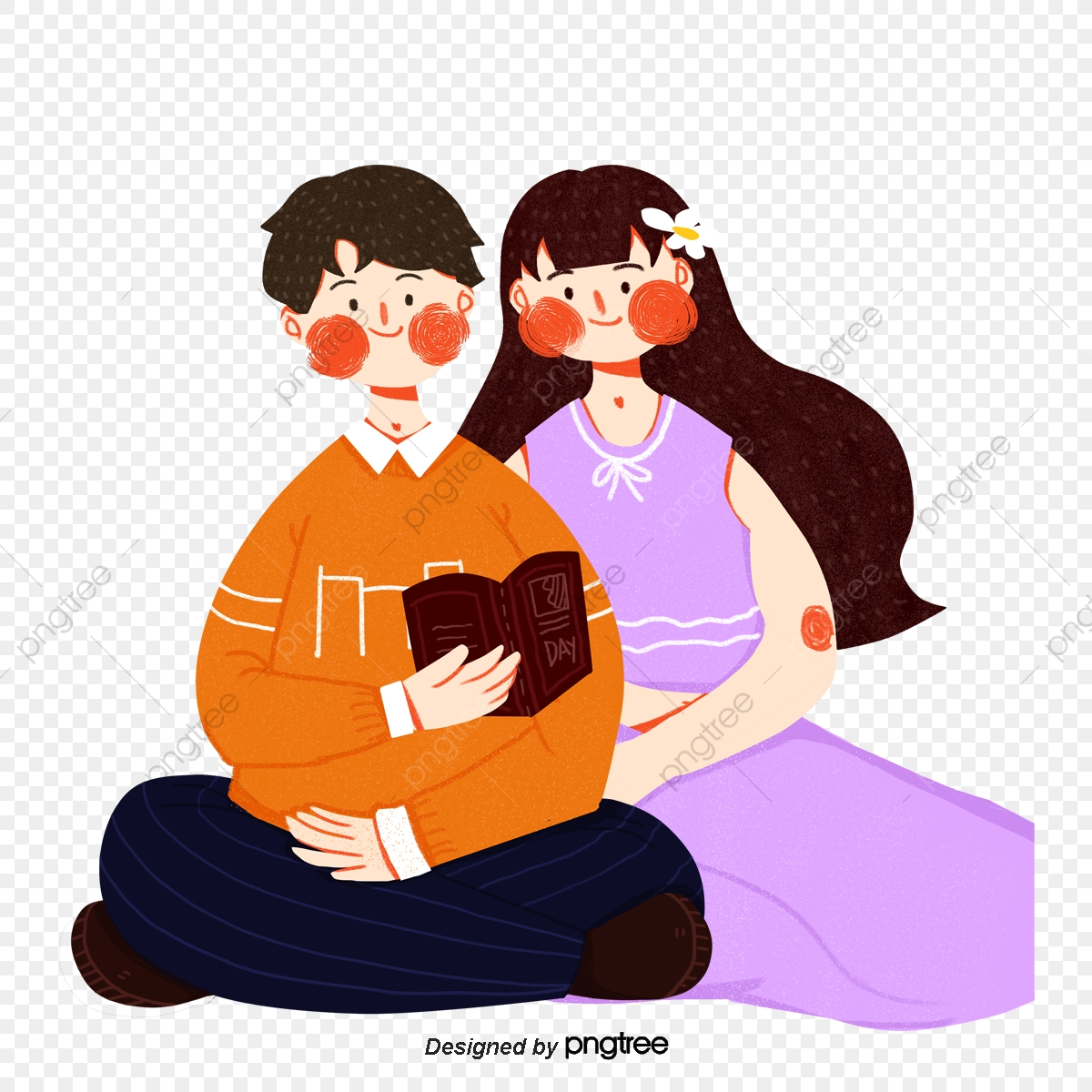 Cartoon Style Couples Sit And Read Book Element Cartoon