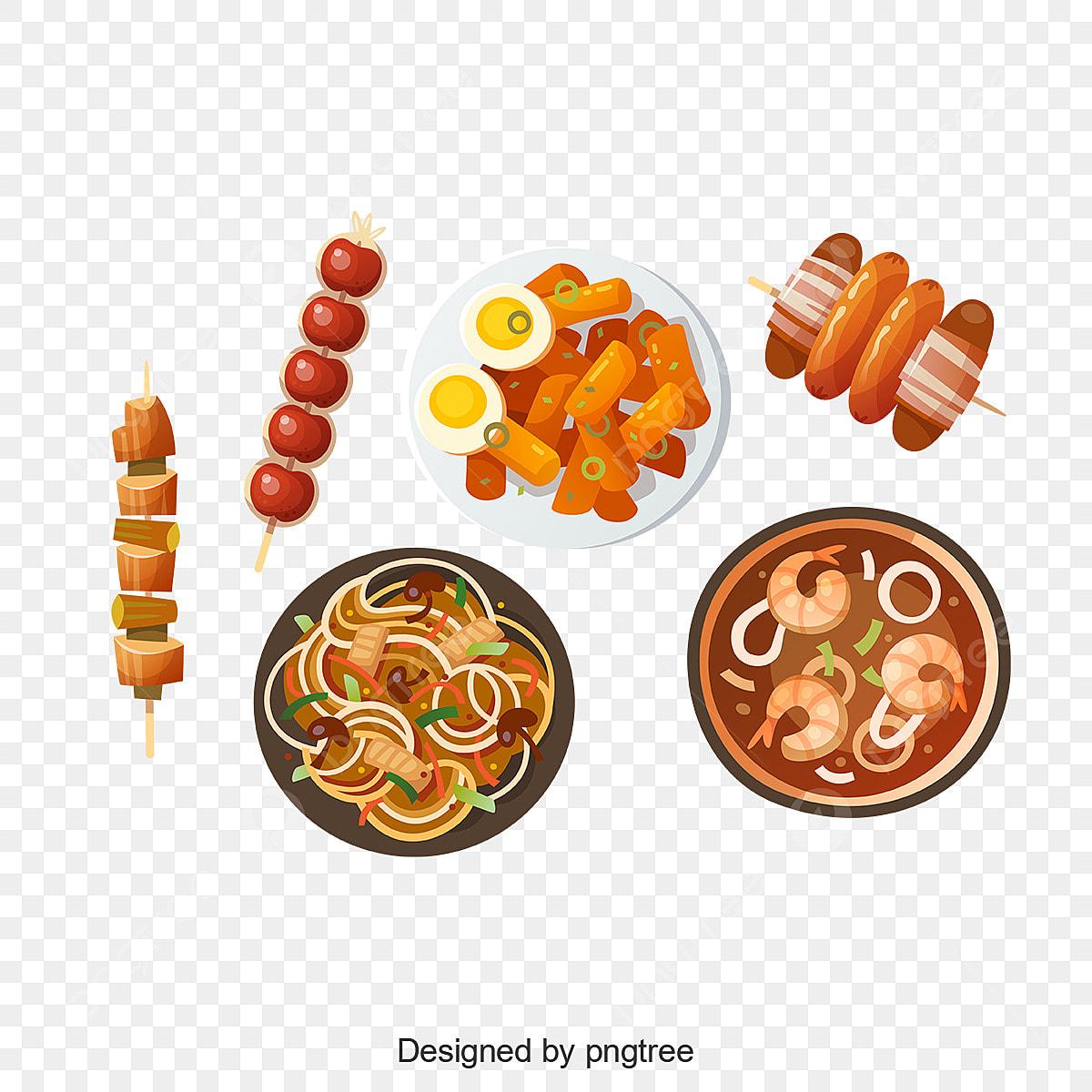 Kartun Tradisional Mudah Makanan Kartun Kartun Vektor Makanan