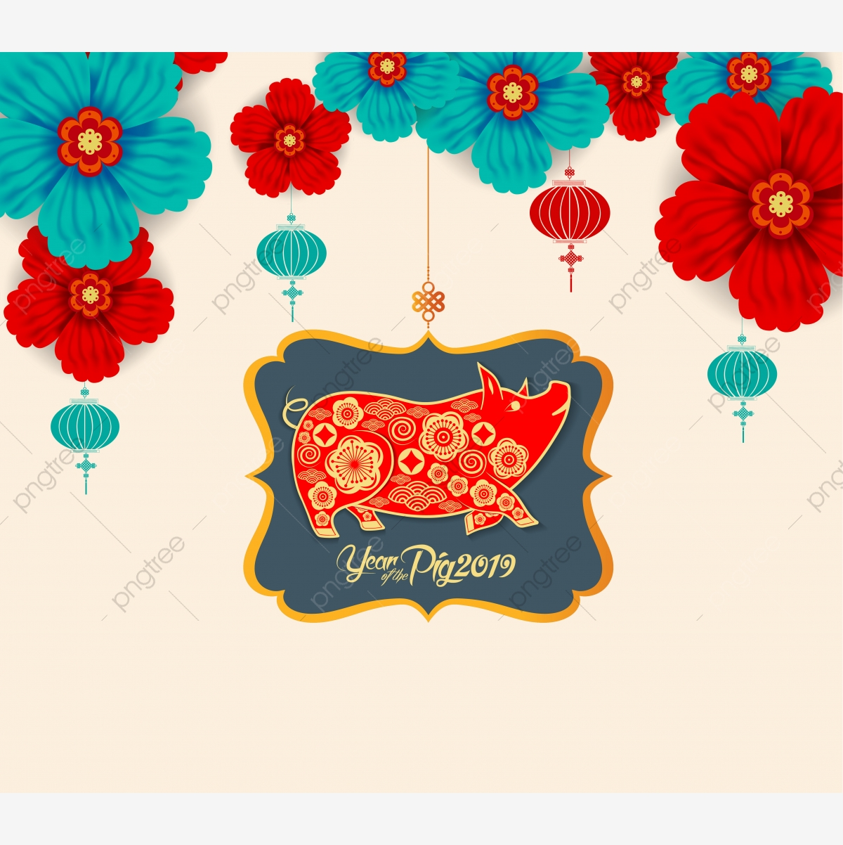 2019 Chinese New Year Paper Cutting Year Of Pig Vector
