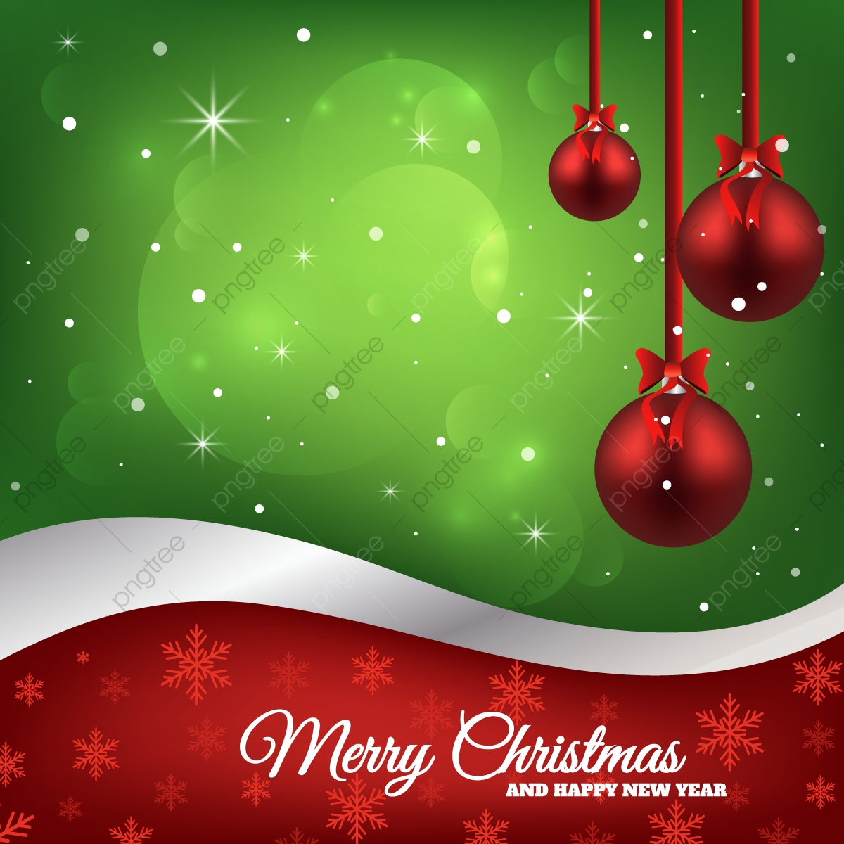 Christmas Background With Red Ribbon Balls Merry Holiday