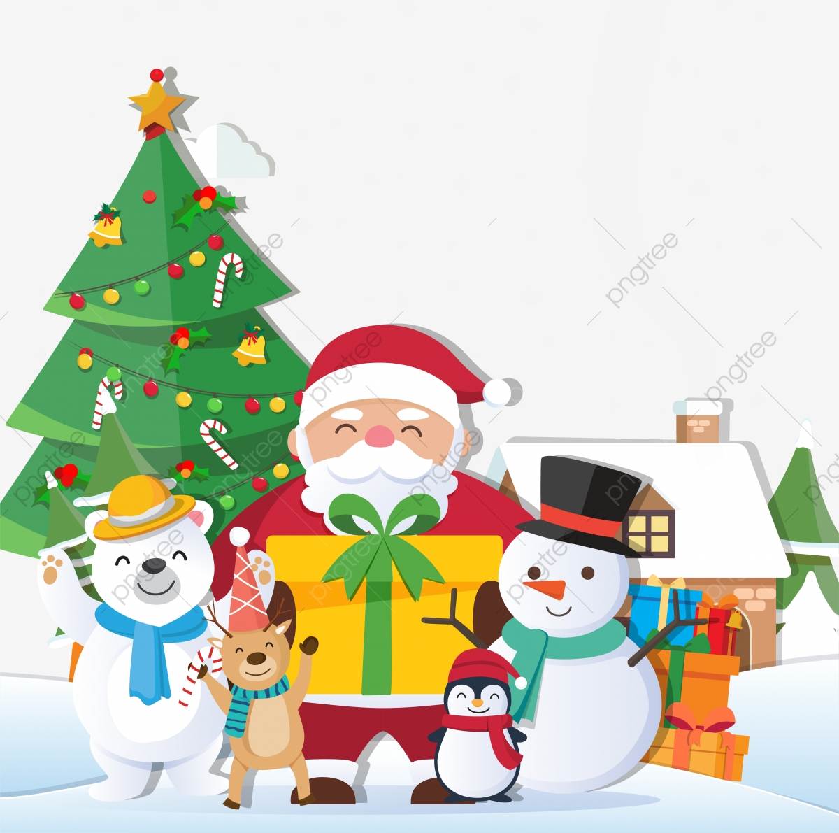 Christmas Background Vector.Christmas Background With Santa Claus And Merry Christmas