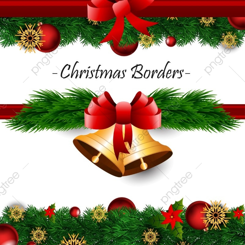 Christmas Card Border.Christmas Border With Red Ribbon And Bells Christmas Card