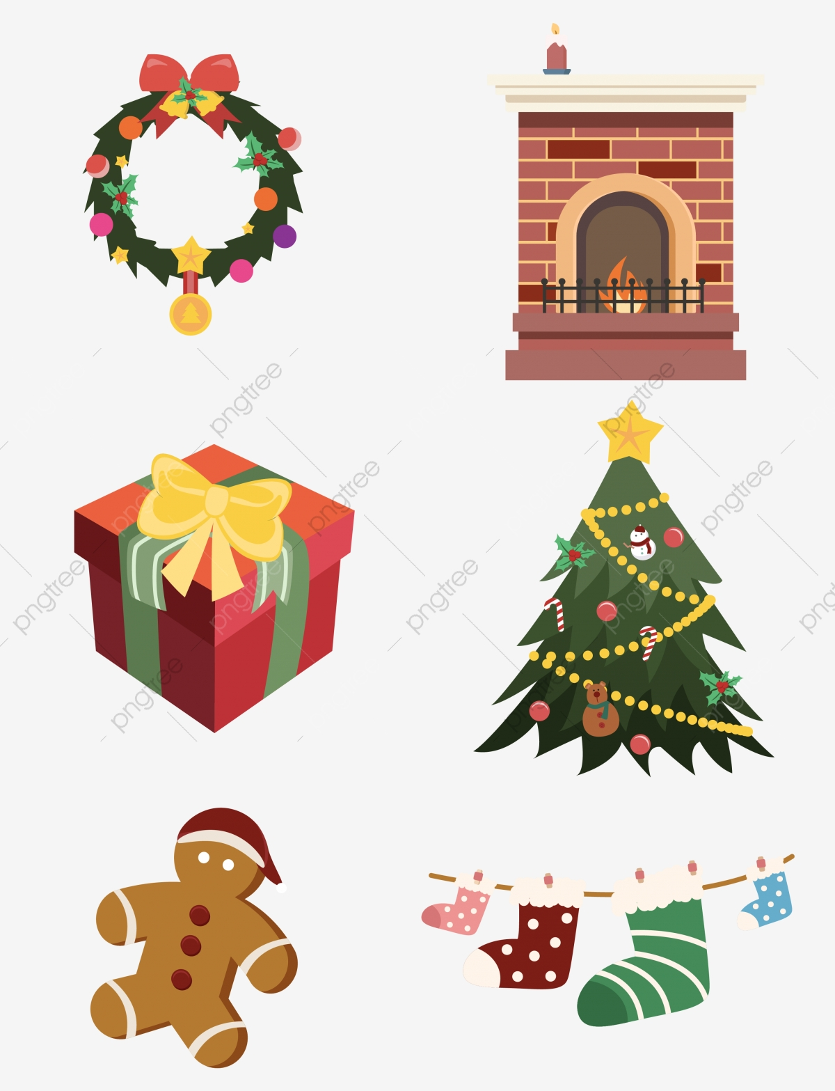 Christmas Cartoon Elements Fireplace Tree Set Illustration