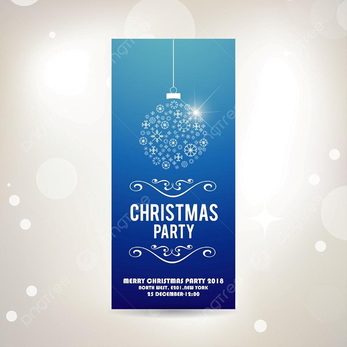 Christmas Invitation Card Blue Vector Christmas Vector