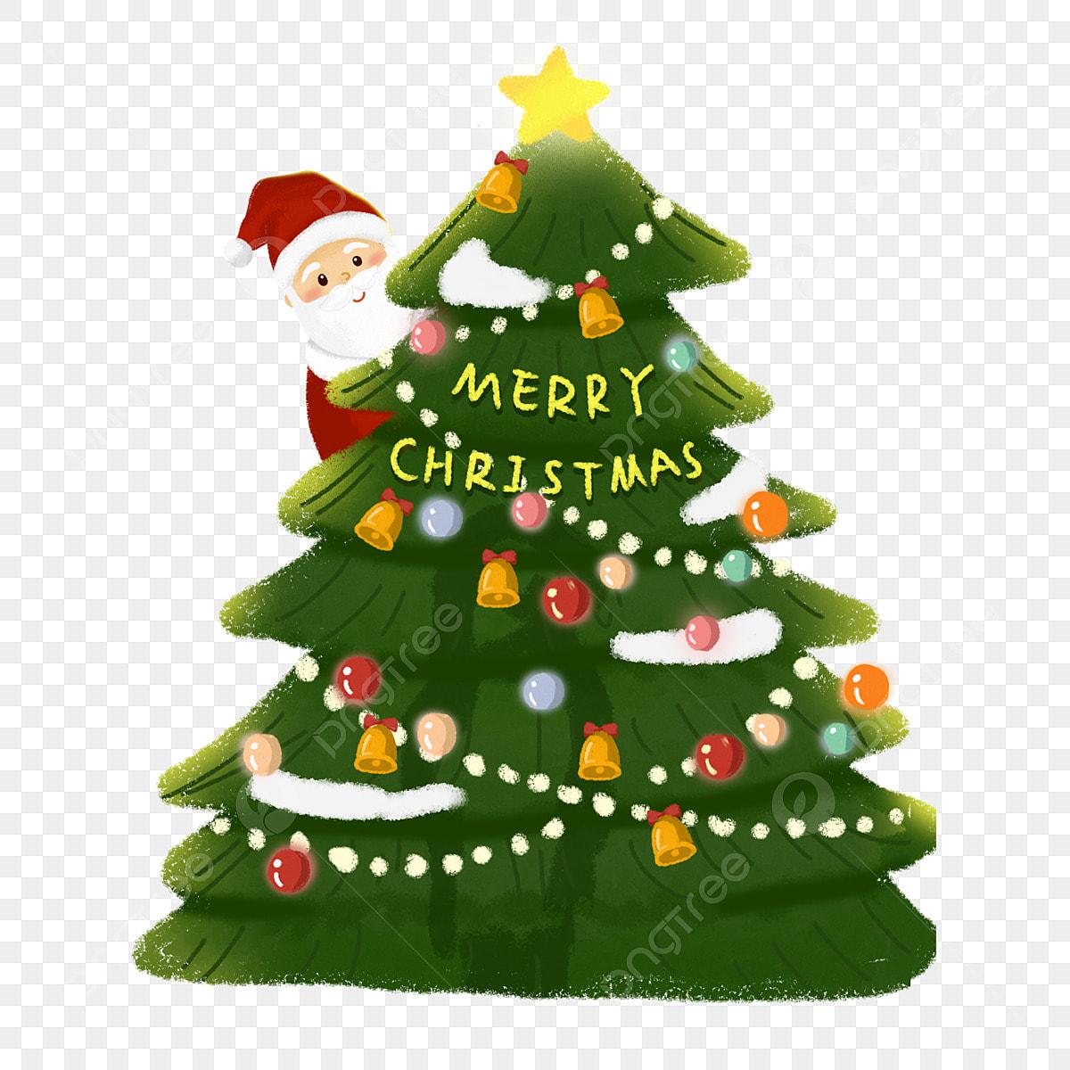 Elementos De Ilustração árvore Natal E Papai Noel Fresco