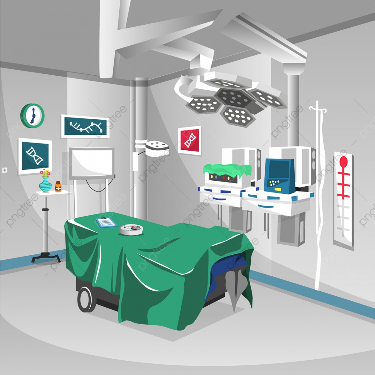 Clean Surgery Room At Hospital With Lamp Modern Operation