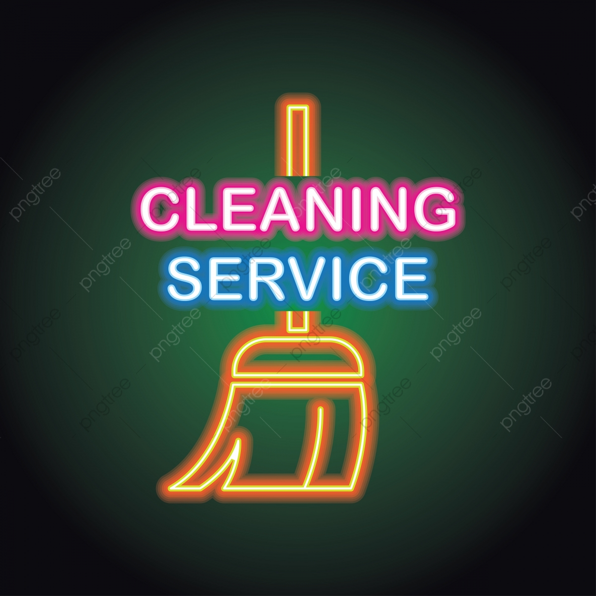 Luci Neon Ufficio.Servizio Di Pulizie Logo Casa E Il Suo Ufficio Servizio Con