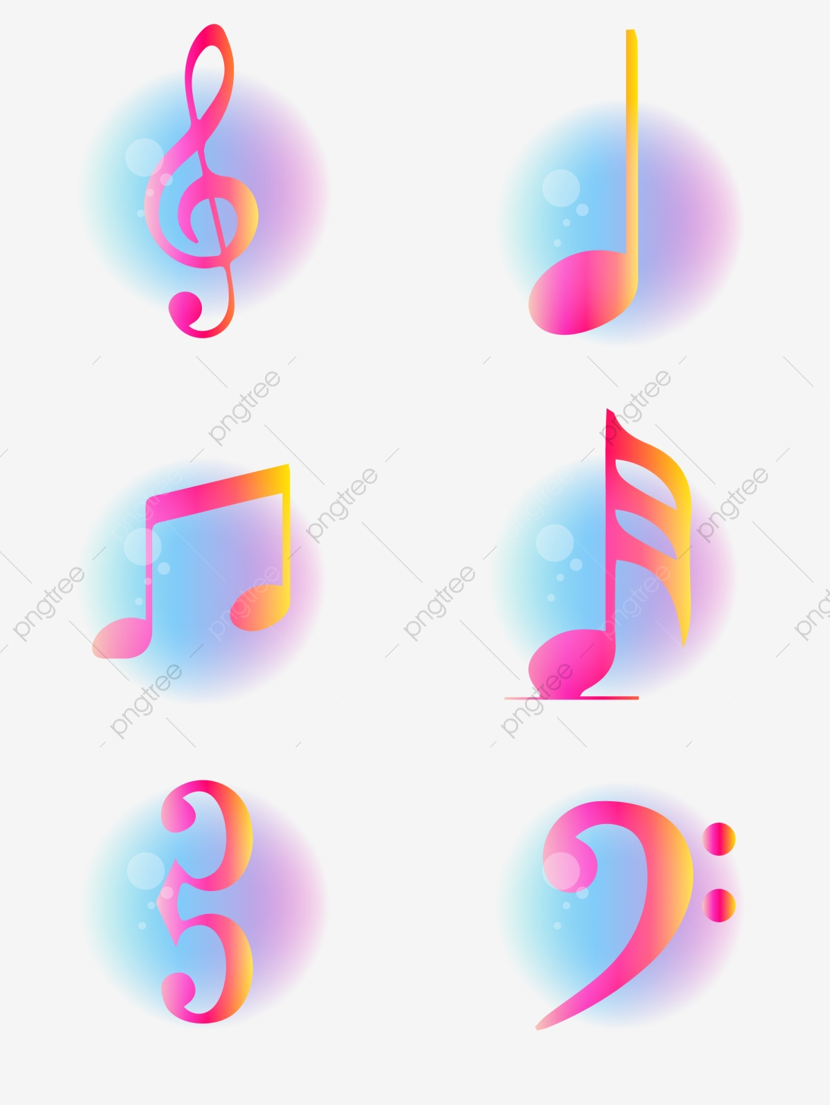Colorful Gradient Glowing Musical Notes Collection Gradient Colorful Note Png And Vector With Transparent Background For Free Download