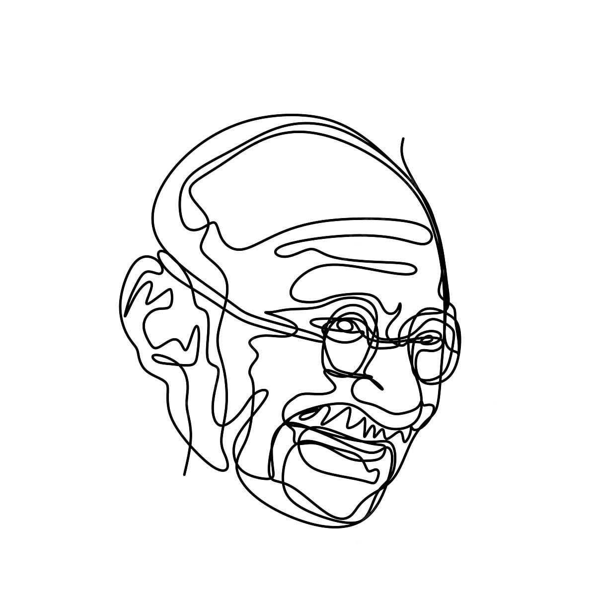 Berterusan Garis Lukisan Mahatma Gandhi Gandhi Adalah