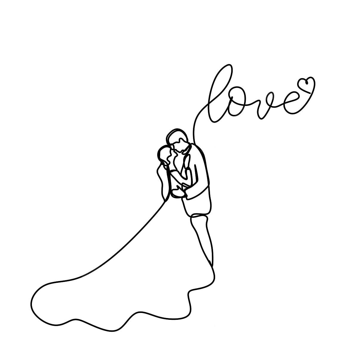 رسم خط متواصل من زوجين رومانسية في التعشيب ثوب نص ناقلات التوضيح