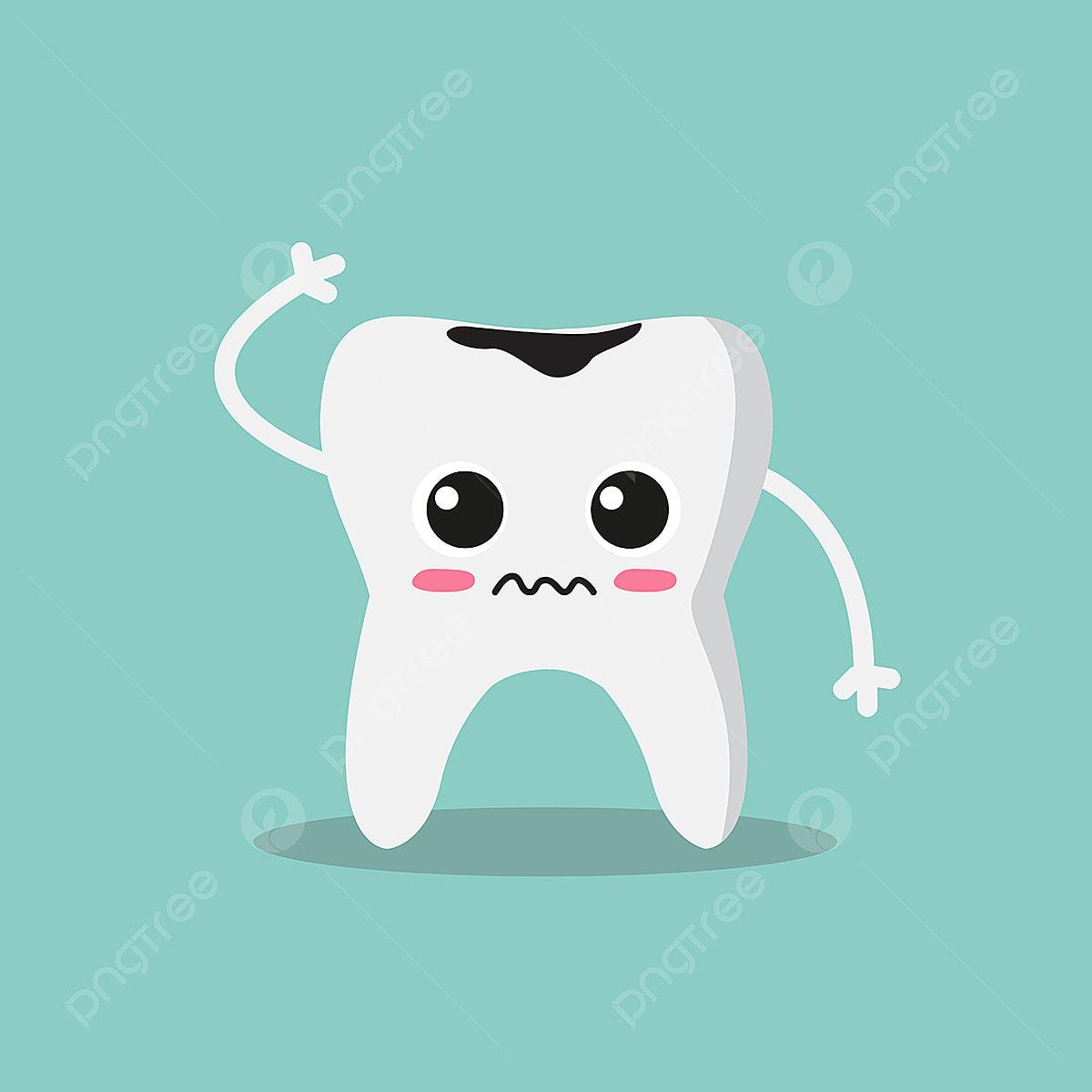 سن لطيف وحزين مع تسوس الأسنان مضحك مسطحة Png والمتجهات للتحميل مجانا