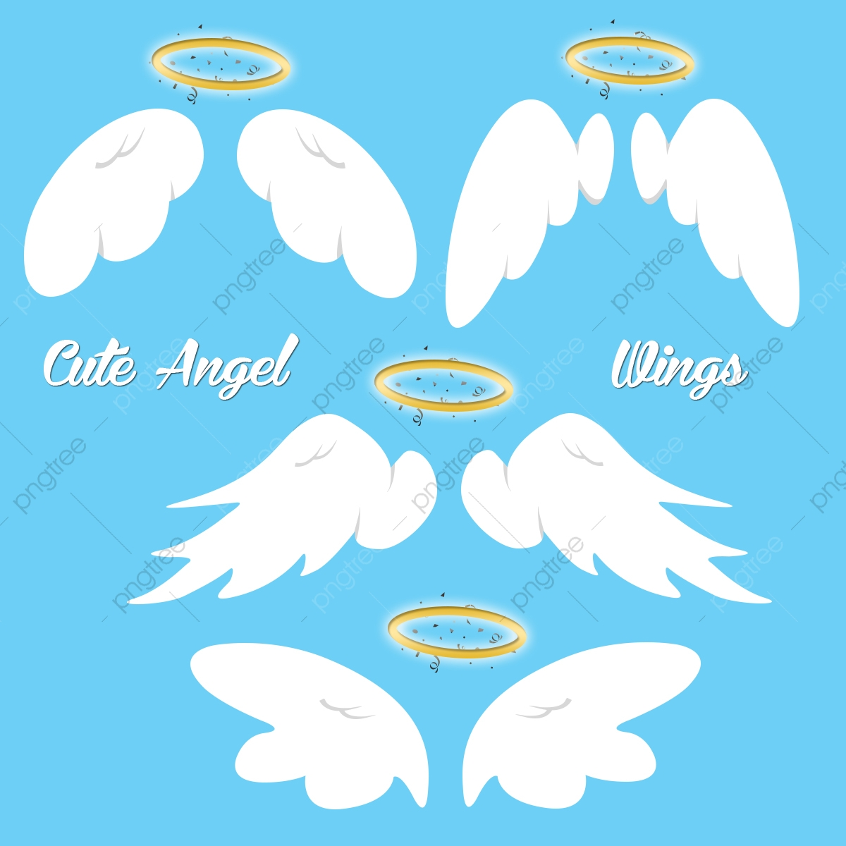 Wings cute. Angel set vector png