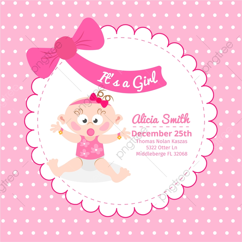 Cute Baby Shower Pink Invitation Card Color Pink Background Png And Vector With Transparent Background For Free Download