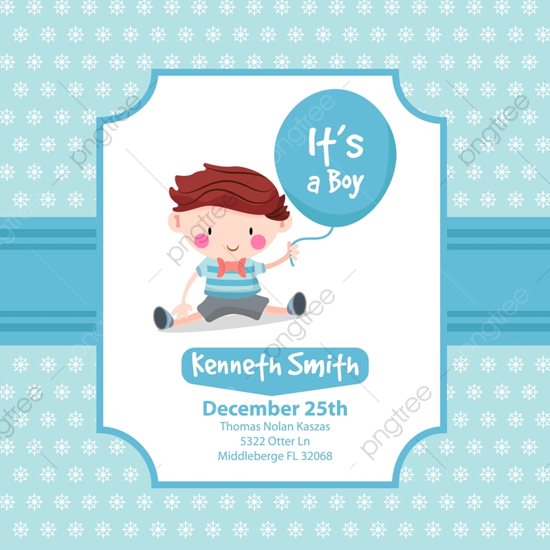 Cute Baby Shower Card With Boy Background Invitation Baby Png And