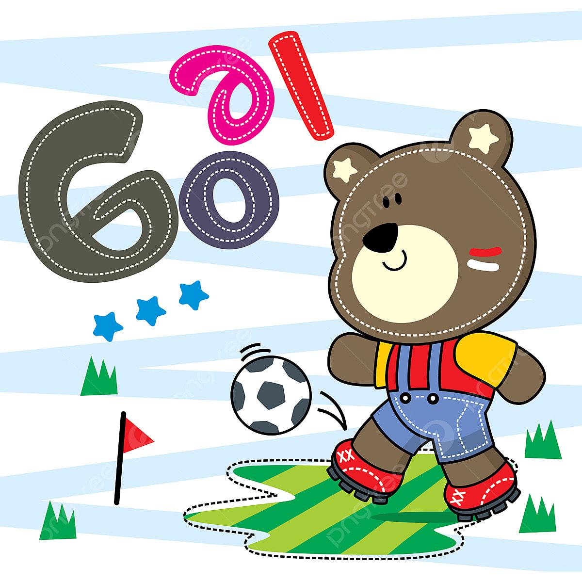 Cute Cartoon Urso Menino Chutando Uma Bola De Futebol A Acao