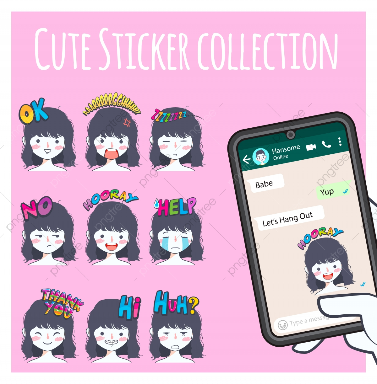 Cute Girl Emoji Sticker Collection Social Media Chat Png