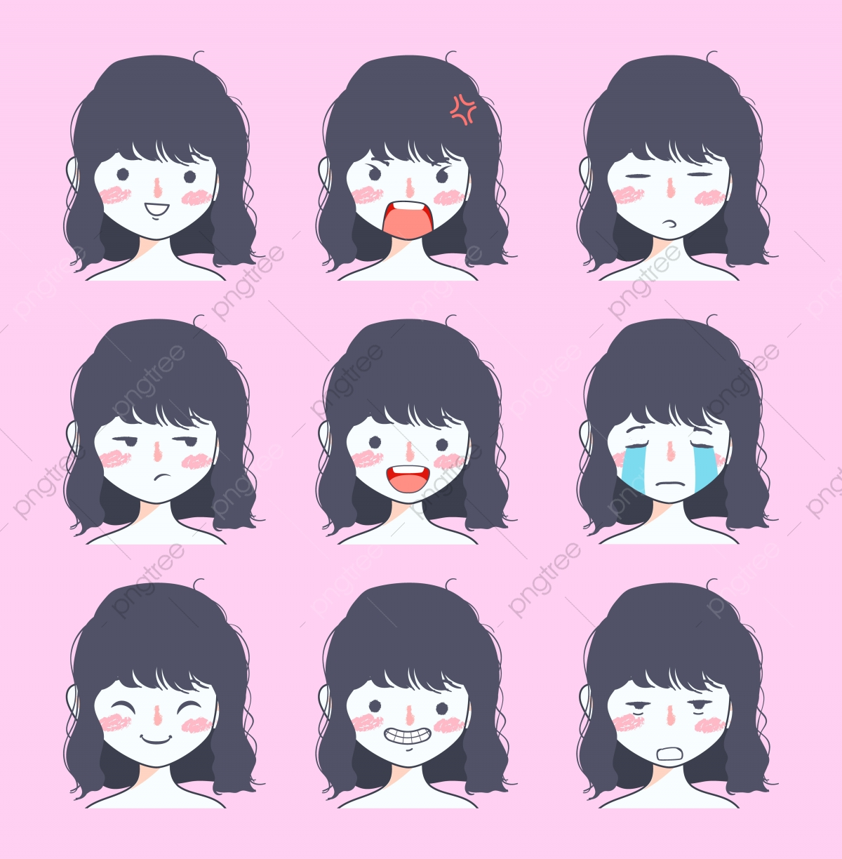 Cute Girl Emoji Sticker Collection, Social, Media, Chat PNG