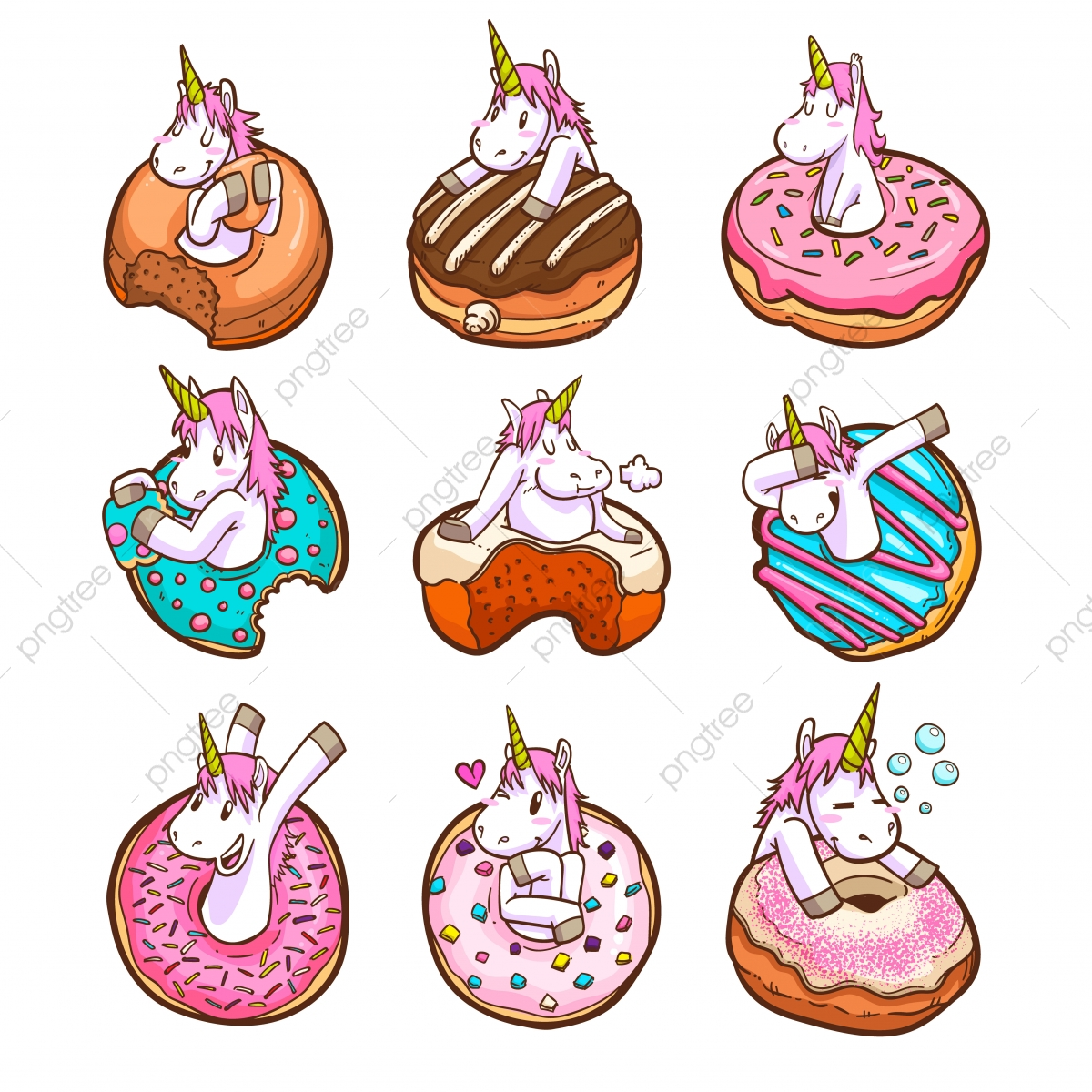 pngtree cute unicorn and donuts png image 4251938