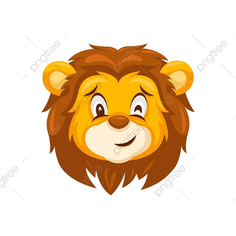 cute wink lion face emoticon expression illustration