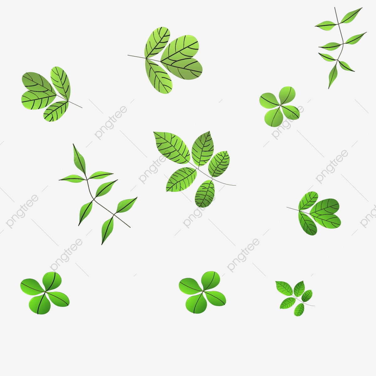3d Green Leaves Spring Falling, C4d Leaves, Leaf, Green Leaf PNG