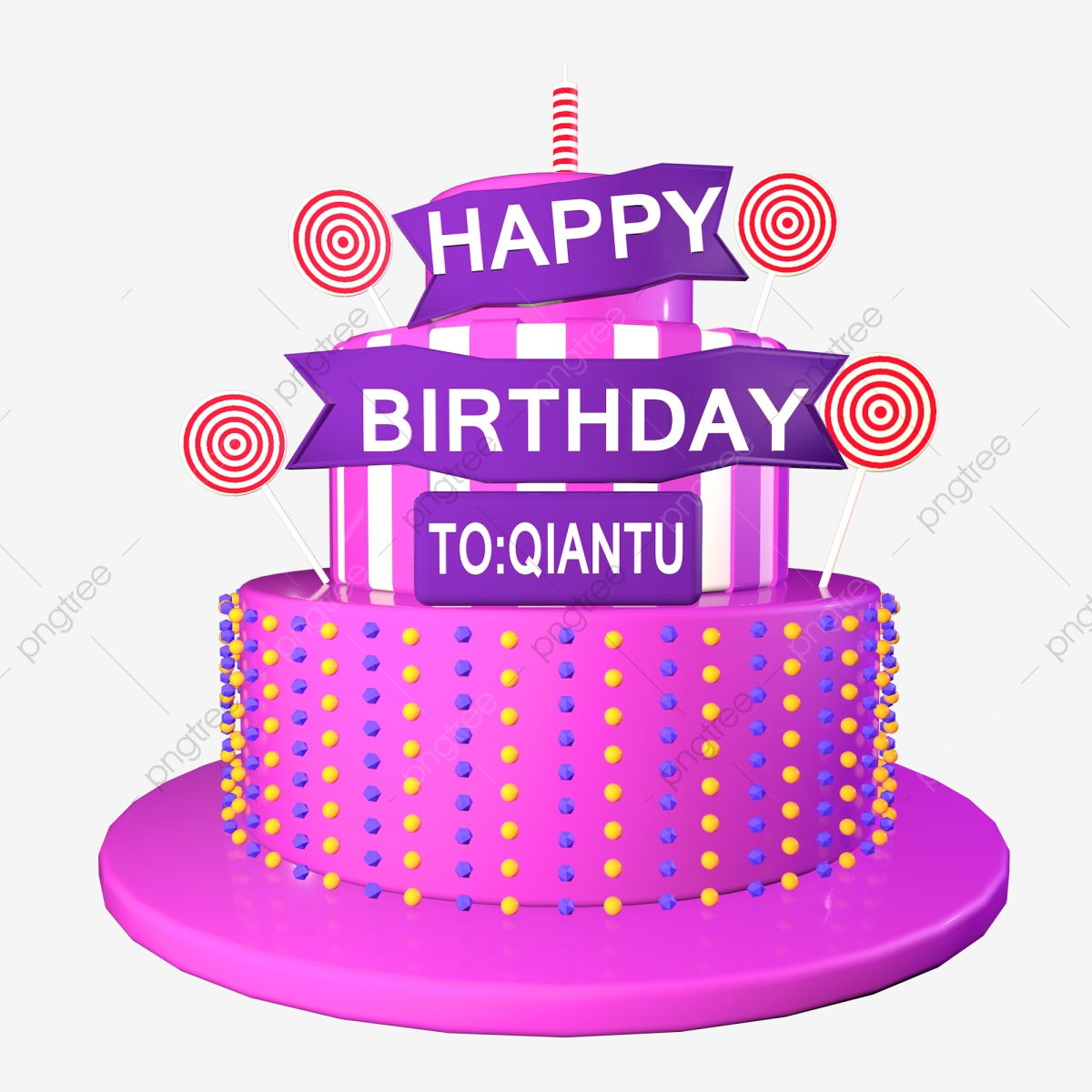 Remarkable 3D Pink Cake C4D Happy Birthday Stereo Font Lollipop 3D C4D Personalised Birthday Cards Paralily Jamesorg