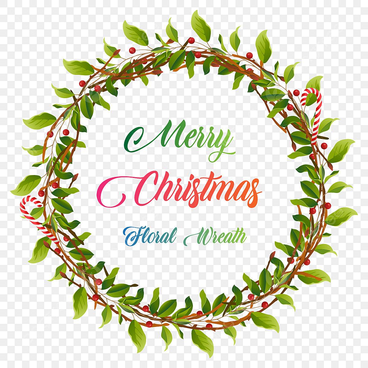 pngtree decorative merry christmas vintage floral wreath illustration png image 3683080