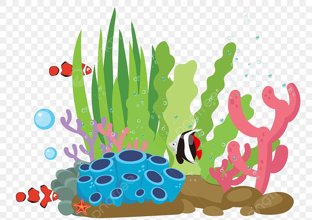 Corak Hiasan Tangan Kartun Ditarik Dunia Bawah Air Rumpai