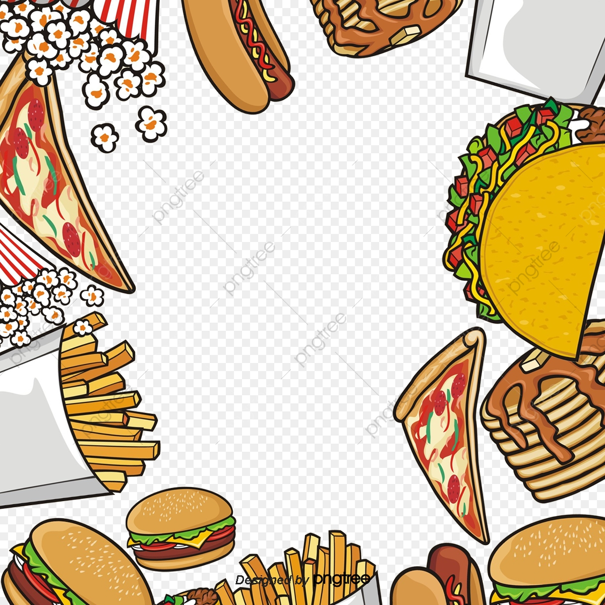 Kartun Cepat Makanan Hamburger Goreng Bentuk Unsur Unsur Kartun