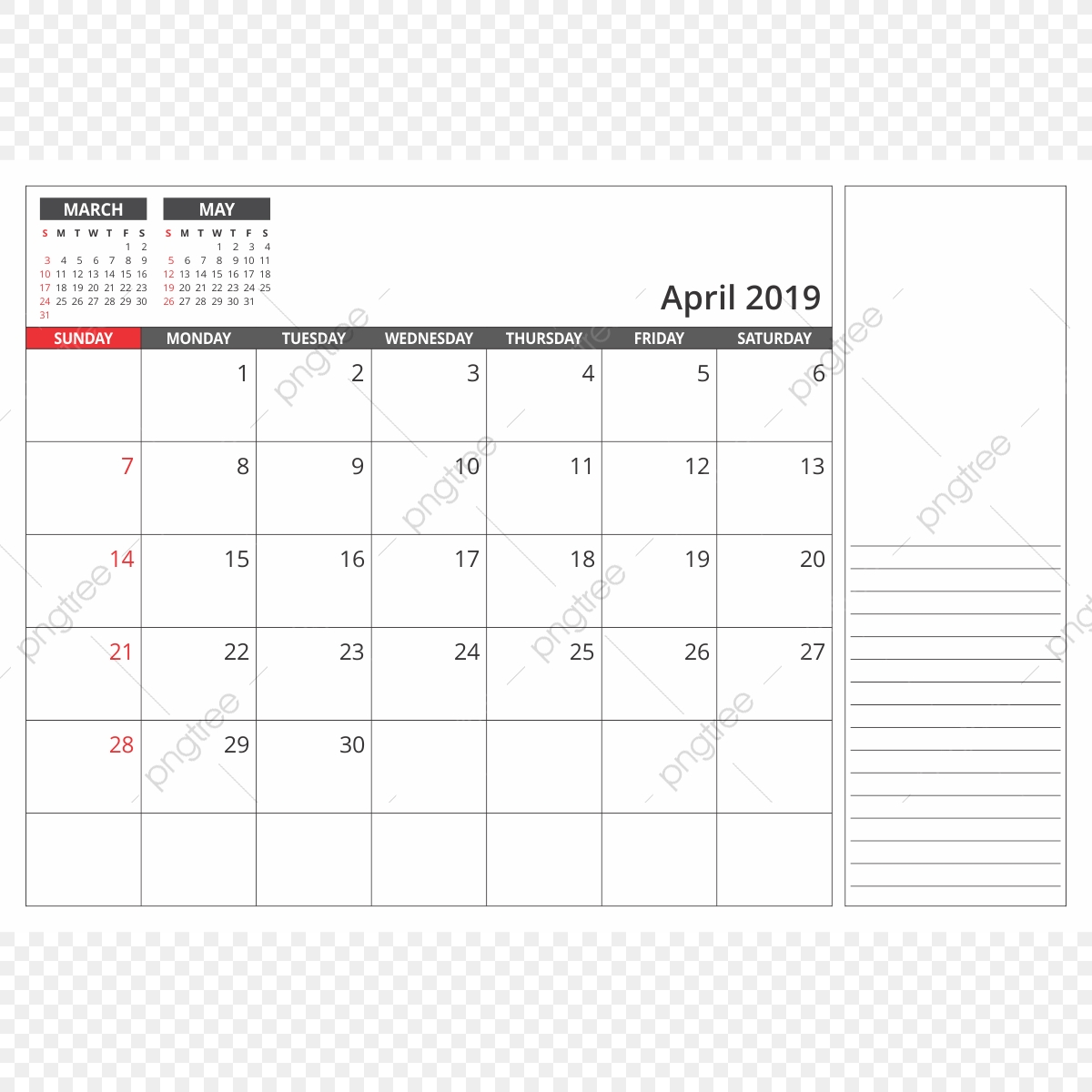 Desk Calendar April 2019 2019 Png Transparent Png And