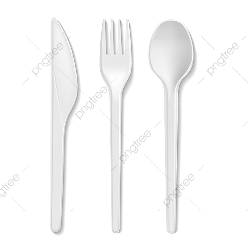 Disposable Plastic Vector Spoon Knife And Fork Isolated 3d Real